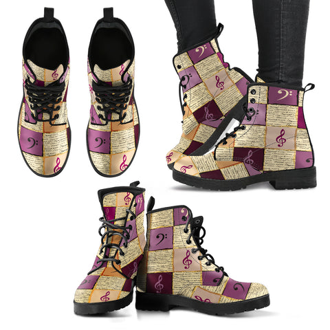 Treble & Bass Clef Women's Leather Boots - Go Steampunk