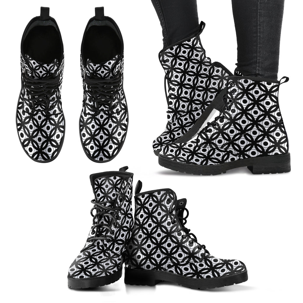 Inner Circles Black & White P1 - Leather Boots for Women - Go Steampunk
