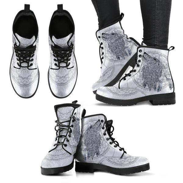 Wolf Dream Catcher Handcrafted Boots - Go Steampunk