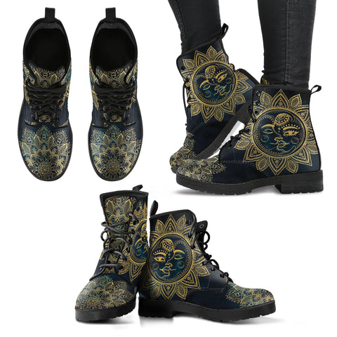 Sun Moon Handcrafted Boots - Go Steampunk