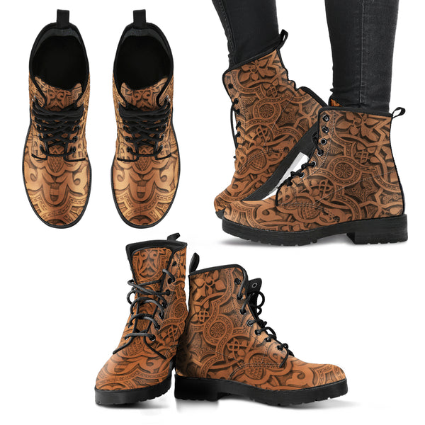 Vintage Mandala Ceilings P3 - Leather Boots for Women - Go Steampunk