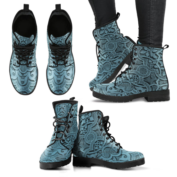 Vintage Mandala Ceilings in Neptune - Leather Boots for Women - Go Steampunk