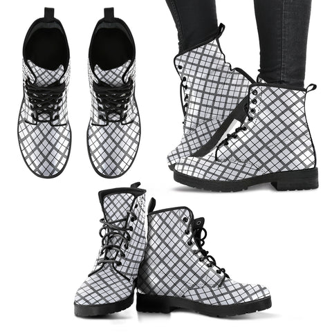 Squared Black & White P1 - Leather Boots for Women - Go Steampunk