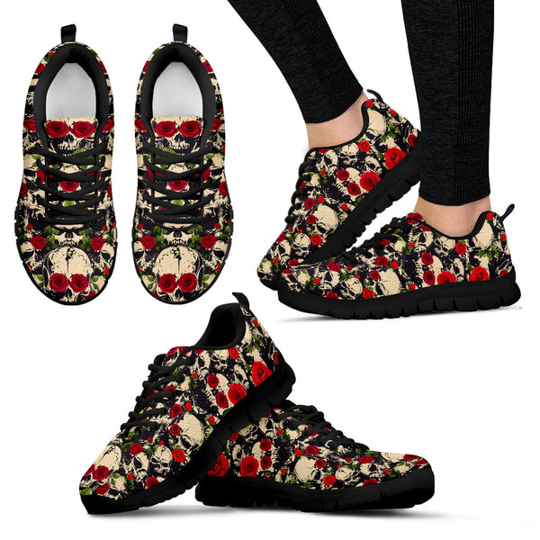 Roses and Skulls Handcrafted Sneakers - Go Steampunk