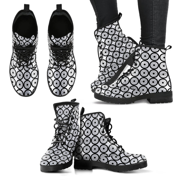 Circles Black & White P1 - Leather Boots for Women - Go Steampunk