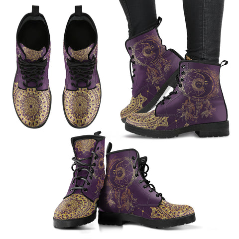 Moon Dream Catcher Gold Women's Leather Boots - Go Steampunk