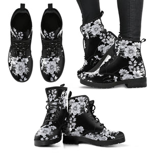 White Flowers Handcrafted Boots - Go Steampunk