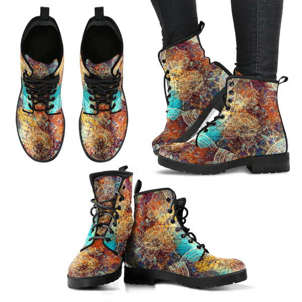 Vintage Mandala Handcrafted Boots - Go Steampunk