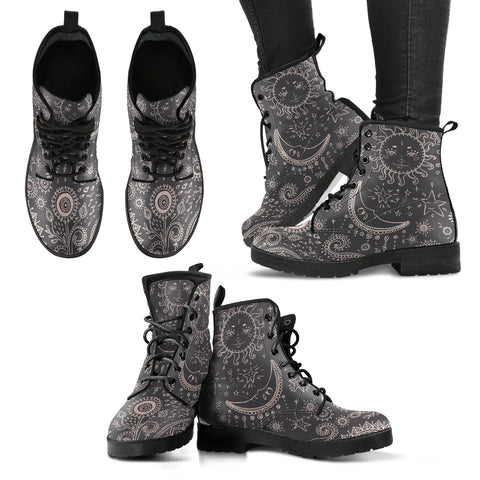 Vintage Sun and Moon Women's Leather Boots - Go Steampunk