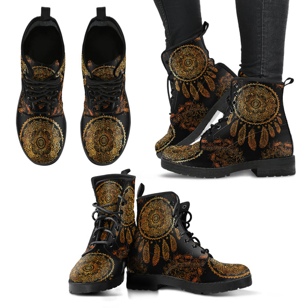 Gold Dreamcatcher Handcrafted Boots - Go Steampunk