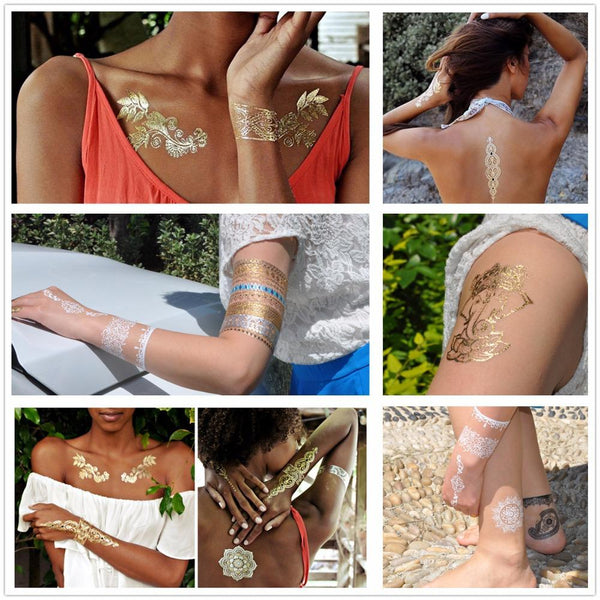 Metallic Gold and Silver Waterproof Temporary Tattoos 21 Designs - Go Steampunk