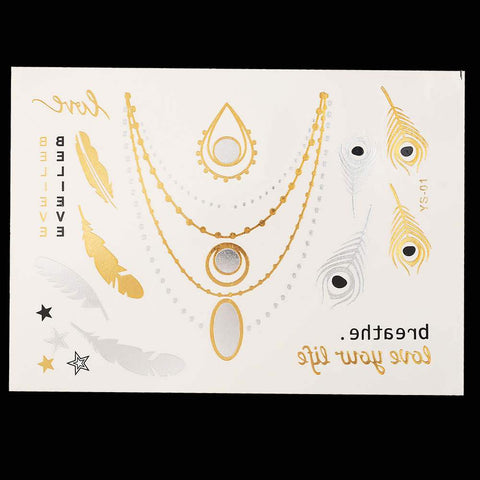 Metallic Gold and Silver Waterproof Temporary Tattoos 21 Designs