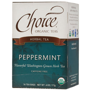 CHOICE TEAS PEPPERMINT ORGANIC TEA BAGS 16 TEA BAGS - Go Steampunk