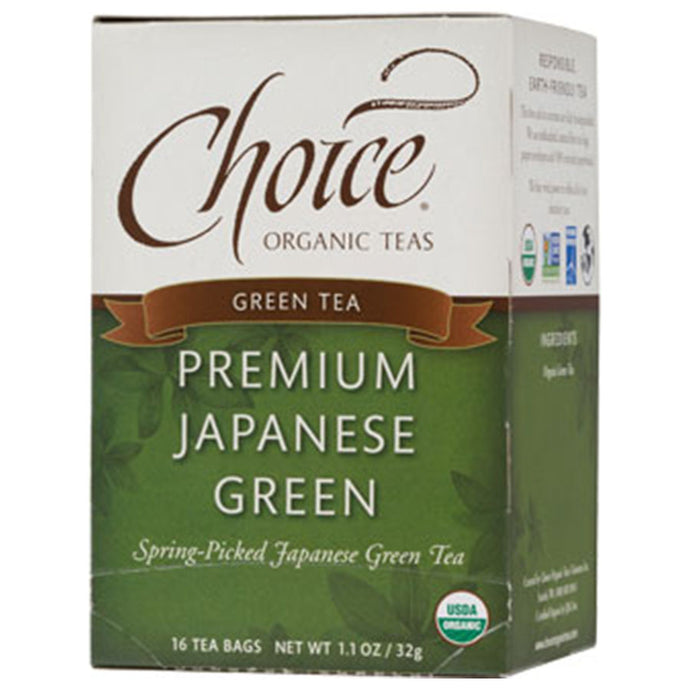 CHOICE TEAS PREMIUM JAPANESE GREEN ORGANIC TEA BAGS 16 TEA BAGS - Go Steampunk