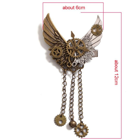 Steampunk Gear Wings Hair Clip Champagne / One Size - Go Steampunk