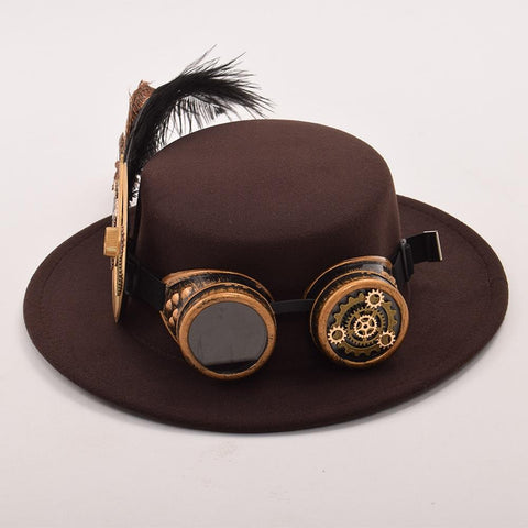 Steampunk Gear and Feathers Hat with Goggles