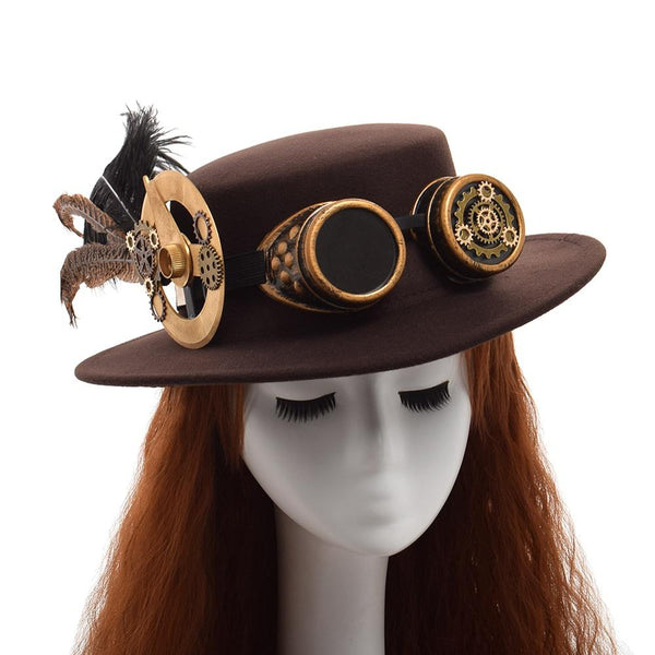 Steampunk Gear and Feathers Hat with Goggles - Go Steampunk