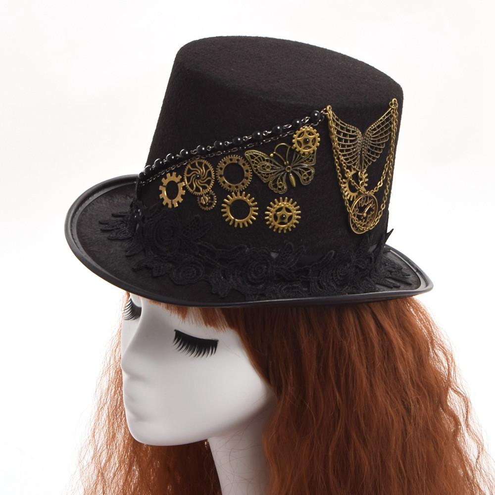 Bekend Vintage Gear Butterfly Black Steampunk Top Hat – Go Steampunk &JA03