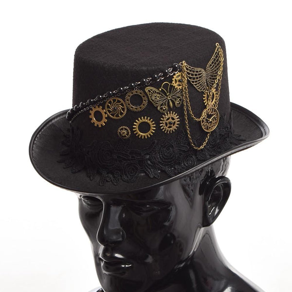 Vintage Gear Butterfly Black Steampunk Top Hat