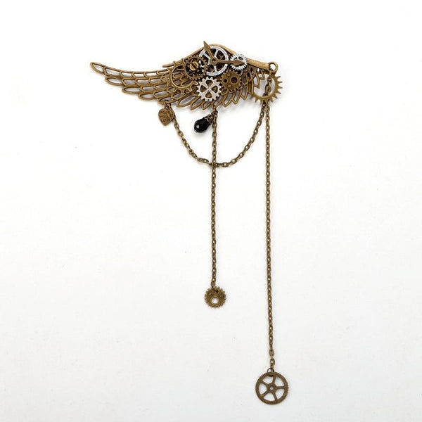 Steampunk Gear Wing Hair Clip