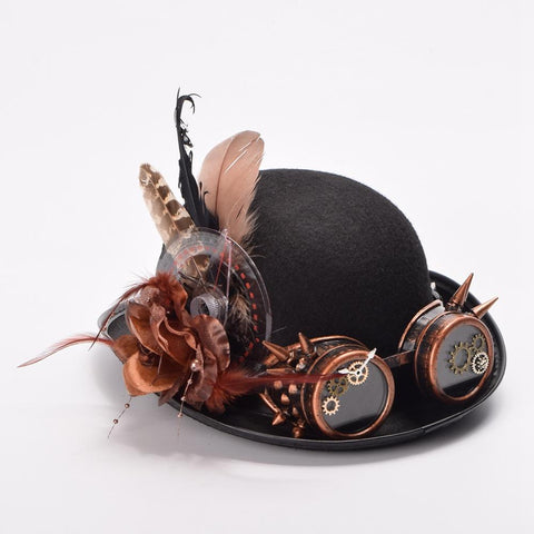 Steampunk Feathers And Goggles Bowler Hat