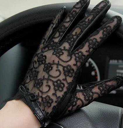 Genuine Nappa Lambskin Leather and Lace Gloves