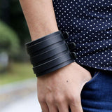 Genuine Cowhide Wide Cuff Leather Bracelet