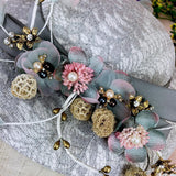 VIntage Style Hat With Flowers, Rhinestone and Lace Hat