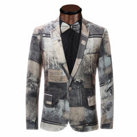 Printed Slim Suit Jacket - Go Steampunk