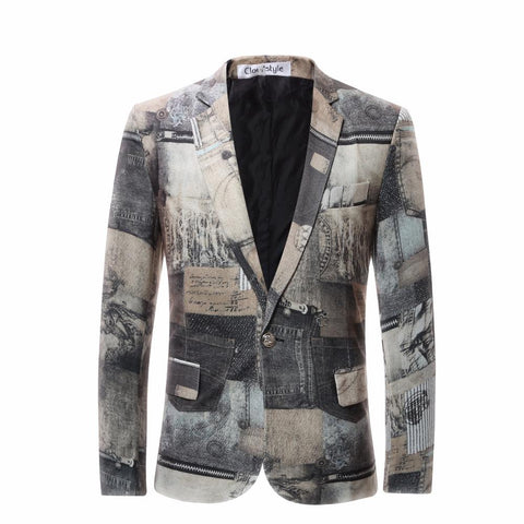 Printed Slim Suit Jacket