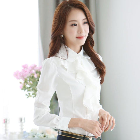 Elegant Long-sleeve Frill Front Shirt