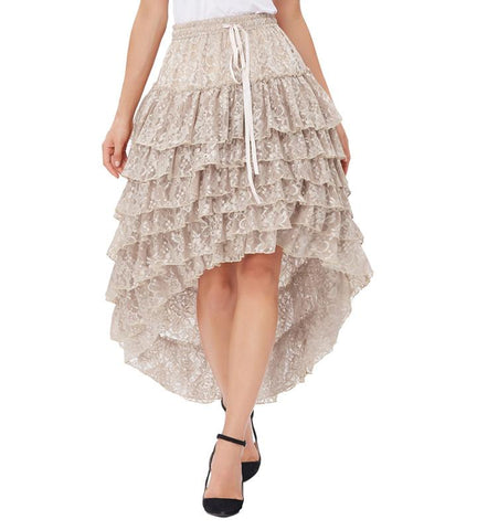 Ruffled Lace Layers Midi Skirt