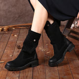 Genuine Leather Women, Round Toed, Handmade Boots
