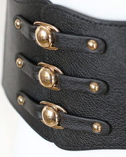 Leather Rivet and Elastic Waist Cincher - Go Steampunk