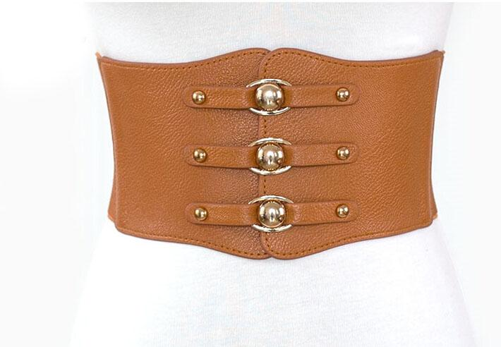 Leather Rivet and Elastic Waist Cincher Orange - Go Steampunk