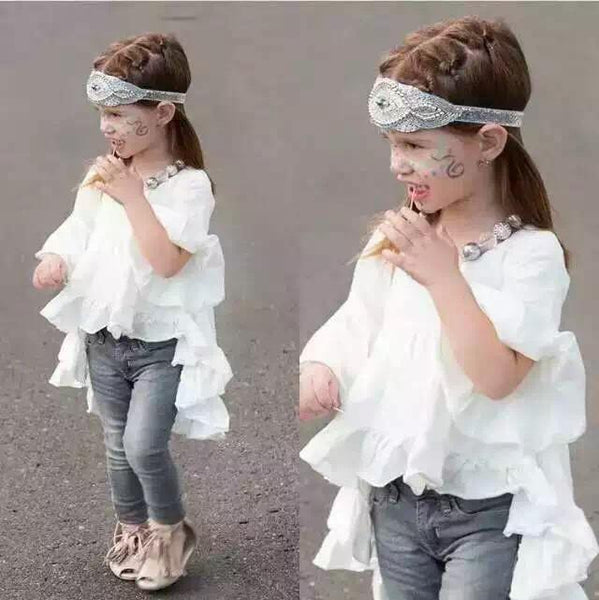 White Cotton Vintage Ruffles Children's Shirt