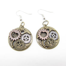 Load image into Gallery viewer, Small Heart and Gears Steampunk Drop Earrings - Go Steampunk