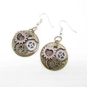 Small Heart and Gears Steampunk Drop Earrings - Go Steampunk