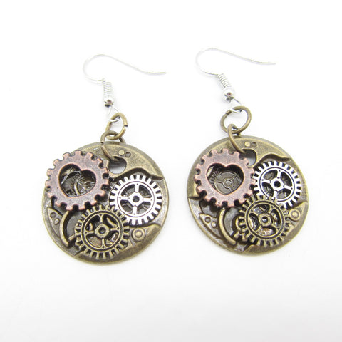 Small Heart and Gears Steampunk Drop Earrings