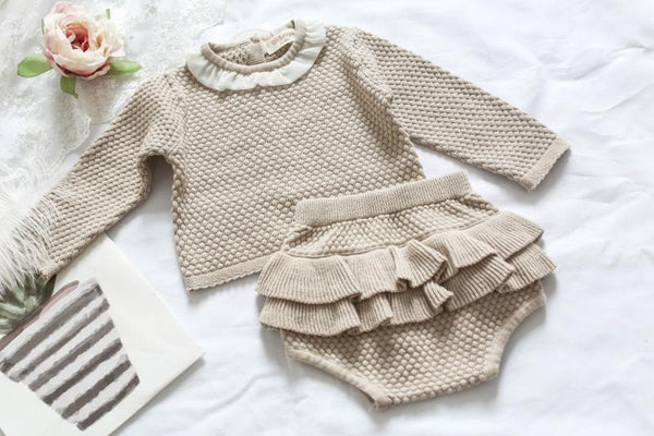Ruffles Baby Cotton Knitted Suit Khaki / 3M - Go Steampunk