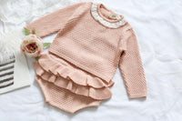 Ruffles Baby Cotton Knitted Suit Pink / 3M - Go Steampunk