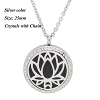 Round Magnetic Stainless steel aromatherapy essential oil locket necklace 25mm silver stone - Go Steampunk