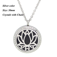 Round Magnetic Stainless steel aromatherapy essential oil locket necklace 30mm silver stone - Go Steampunk