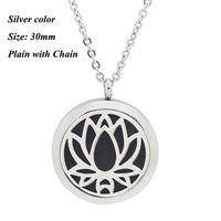 Round Magnetic Stainless steel aromatherapy essential oil locket necklace 30mm silver plain - Go Steampunk