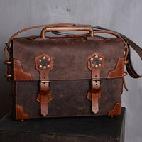 Leather Steampunk Messenger Laptop Bag - Go Steampunk