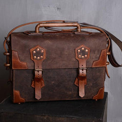 Leather Steampunk Messenger Laptop Bag