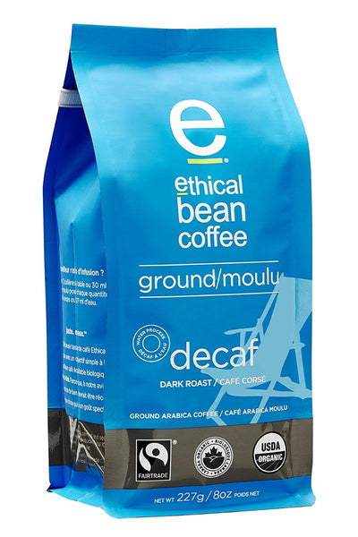 ETHICAL BEAN: Decaf Dark Roast Ground Coffee, 8 oz