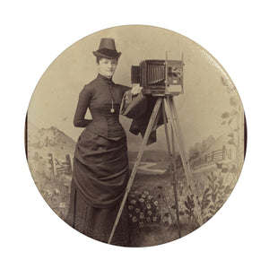 Victorian Lady Photographer Phone Stand Black / Round - Go Steampunk