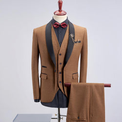 3pc Steampunk Slim Fit Contrast Suit