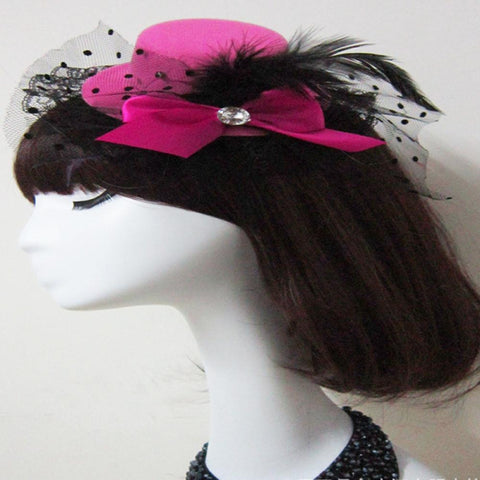Lady's Mini Feather Bowknot and Lace Fascinator Hair Clip rose - Go Steampunk